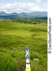 hikers signpost with mountain view