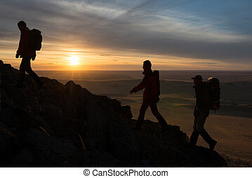 hikers, silhouette
