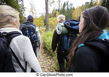 Hikers With Backpacks Walking On Forest Trail