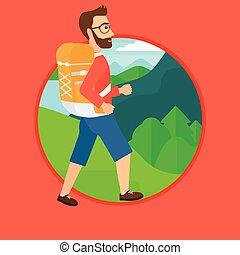 hiking., バックパック, 人