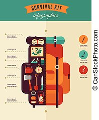 Hiking and camping concept - survival kit infographics - ...