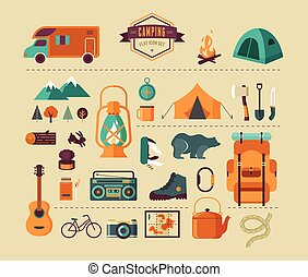 Hiking and camping equipment - icon set and infographics -...