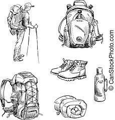 Hiking and camping. Set of drawings