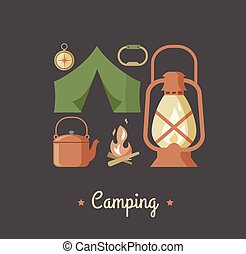 Hiking and camping vintage hipster poster - Hiking and...