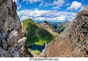 hiking., arête, ligne partage, passe