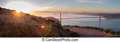 Hiking Around the Mountains in the Early Hours with the Golden Gate Bridge in the Background