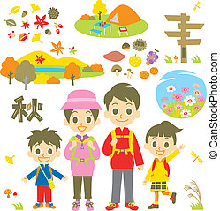 hiking autumn family, vector file