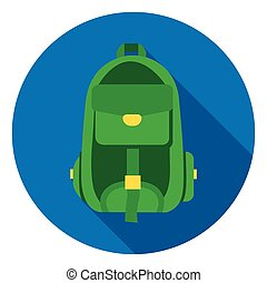 Hiking bag icon in flat style isolated on white background. Camping symbol stock vector illustration.