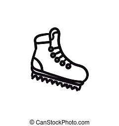 Hiking boot with crampons sketch icon. - Hiking boot with...
