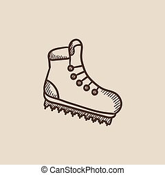 Hiking boot with crampons sketch icon.