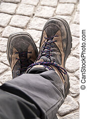 Hiking boots - Close up of hiking boots