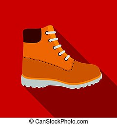 Hiking boots icon in flat style isolated on white background. Shoes symbol stock vector illustration.