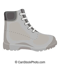 Hiking boots icon in monochrome style isolated on white background. Shoes symbol stock vector illustration.