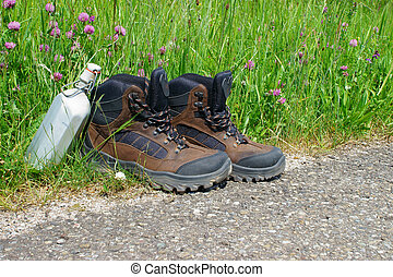Hiking boots in front of a summer meadow