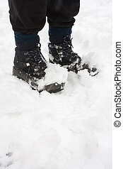 Hiking boots in snow