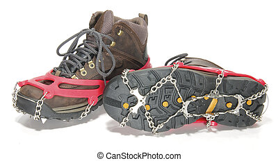 64e5f1e8378 Used hiking boots with groedel (small crampons)