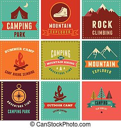 Hiking, camp badges, icons, backgrounds and elements