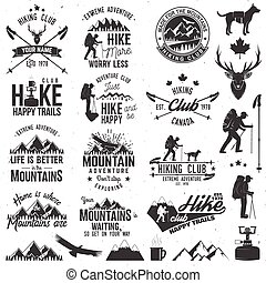 Hiking club badge. - Hiking club badges with design elements...
