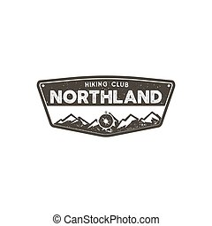Hiking club badge. Scout adventure camp emblem. Vintage hand...