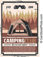 Hiking club, forest camping travel adventure