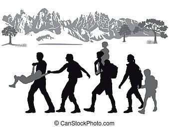 hiking, com, crianças