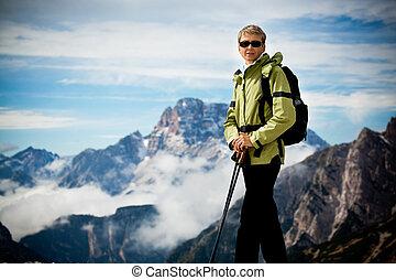 hiking, em, dolomite