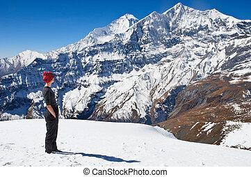 hiking, em, himalaya, montanhas