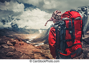 hiking, em, himalaya, montanhas.