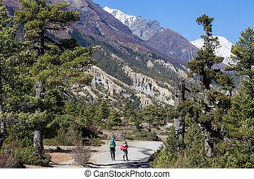 hiking, em, himalaya, montanhas, nepal