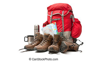 hiking equipment. Concept for family hiking