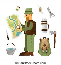 Hiking Equipment Vector Illustration Set