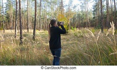 hiking, fotografie, młody, kamera video, profesjonalny, las...
