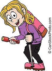 Hiking girl cartoon illustration
