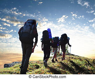 Hiking - Hikers in mountains