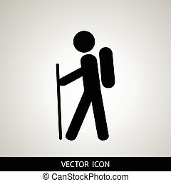 Hiking icon illustration isolated vector sign symbol. Travel, Tourist Icon.