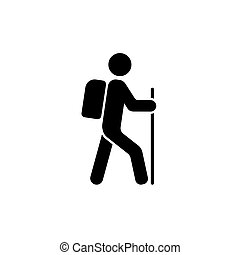Hiking icon vector isolated on white