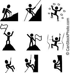 hiking, icon., vektor, klatre