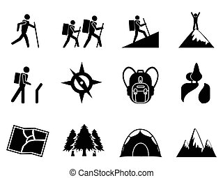 hiking icons - isolated hiking icons from white background
