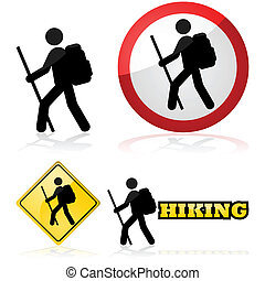 Hiking icons - Icon set showing a man hiking carrying a...
