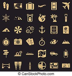 Hiking icons set, simple style