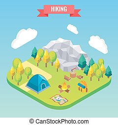 Hiking in mountain forest isometric concept. Vector illustration in flat 3d style. Outdoor activity