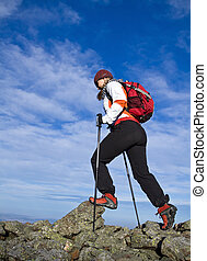 Hiking in mountains - Woman hiking in Autumn mountains