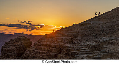 Hiking in the Desert at Sunset