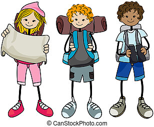 Hiking Kids with Clipping Path
