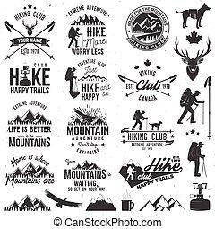 hiking, klub, badge.