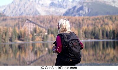 hiking., kobieta, senior, czynny, plecak, reputacja, ...