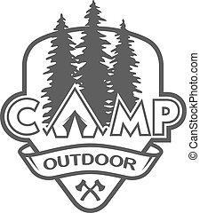 hiking., läger, utomhus