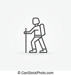 Hiking linear icon - vector thin line mountain climbing symbol or logo