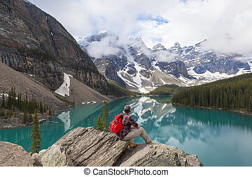 Hiking Man Looking at Moraine Lake & Rocky Mountains -...