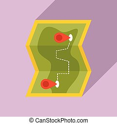 Hiking map icon, flat style
